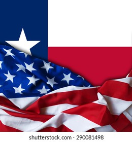 America flag of fabric and Texas flag background