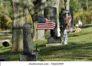 The America flag flying at a grave site.