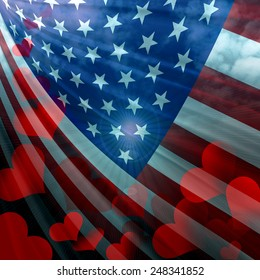 America flag ,hearts,sun,clouds and sky background