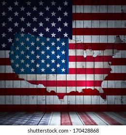 America flag map and wood background