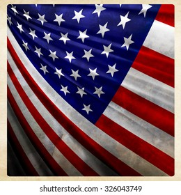 America flag on grunge fabric and frame background