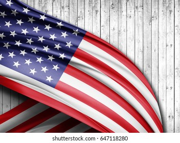 America  flag of silk with copyspace for your text or images and wood  background -3D illustration