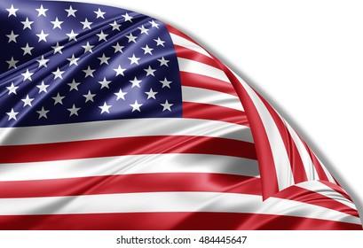 America flag of silk-3D illustration