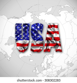 America flag with USA text of silk and world map background