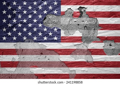 America flag and wall background