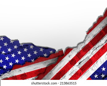 America flag of wall and white background