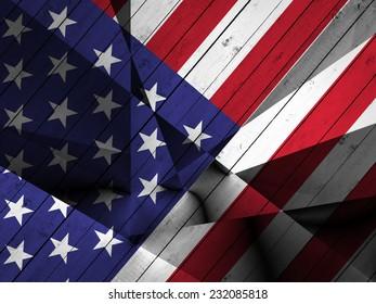 America flag and wood background