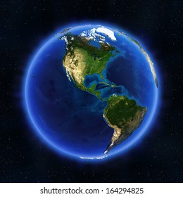 America globe. Elements of this image furnished by NASA