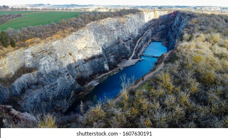 Velká America limestone quarry near the village of Mořina. Old quarry, which is partially flooded. Quarry is often used by filmmakers to produce films, mostly westerns.