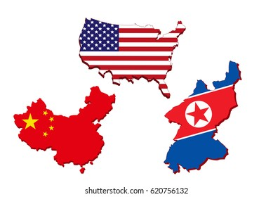 America map, Chinese map and North Korea map on white background.