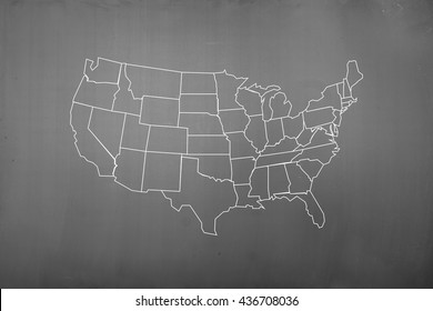 America map drawing on the blackboard