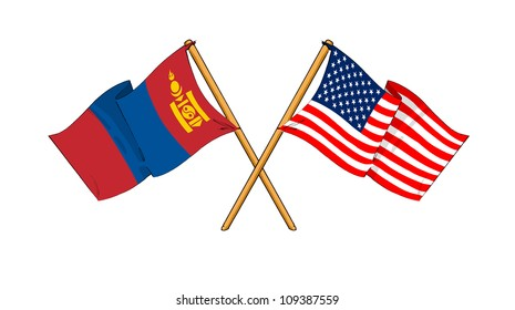 America and Mongolia alliance and friendship