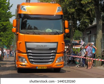 America, Netherlands - 06/30/2019 : Modern DAF truck participating in the DAF parade to celebrate  Huub van Doorne the founder of the DAF truck and automobile company
