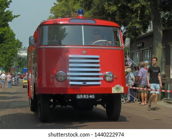 America, Netherlands - 06/30/2019 : Vintage DAF fire truck participating in the DAF parade to celebrate  Huub van Doorne the founder of the DAF truck and automobile company