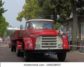 America, Netherlands - 06/30/2019 : Vintage DAF truck participating in the DAF parade to celebrate  Huub van Doorne the founder of the DAF truck and automobile company