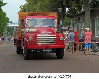 America, Netherlands - 06/30/2019 : Vintage DAF Volvo truck participating in the DAF parade to celebrate  Huub van Doorne the founder of the DAF truck and automobile company