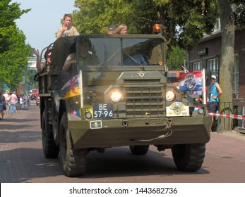 America, Netherlands - 06/30/2019 : Vintage DAF military truck participating in the DAF parade to celebrate  Huub van Doorne the founder of the DAF truck and automobile company