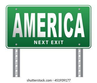 America north america or south  and central america travel vacation and tourism continent, road sign billboard. 3D illustration, isolated, on white