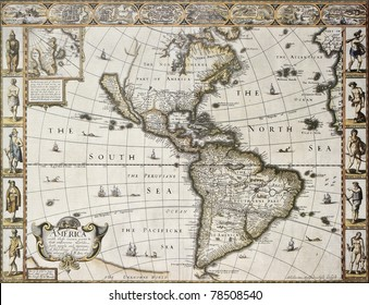 America old map with Greenland insert map. Created by John Speed. Published in London, 1627