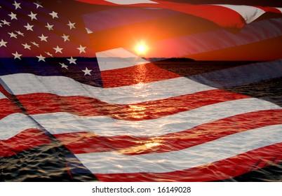 America patriotic concept with sunrise.