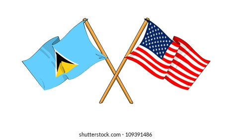 America and Saint Lucia alliance and friendship