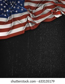 America USA Flag Vintage on a Grunge Black Chalkboard With Space For Text 3D illustration