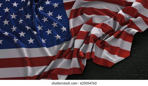 America USA Flag Wrinkled On Dark Background 3D Render
