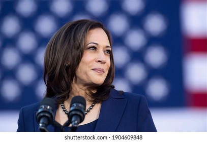 America,10  Jan 2021: This picture shows Vice president of America Kamala Harris
