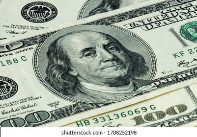 American 100 dollars banknote close-up
