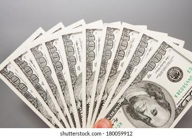 American 100 U.S. dollars on a white background
