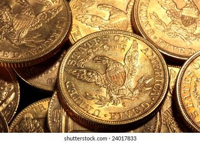 American 5 dollars golden coins