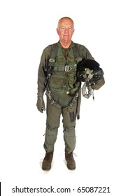 American aircraft pilot with helmet isolated over white background