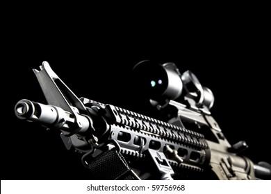 An American AR-15 assault rifle in a studio environment