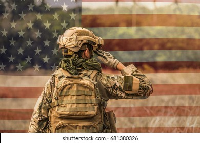 American Army Rangers Respect the United States Flag.