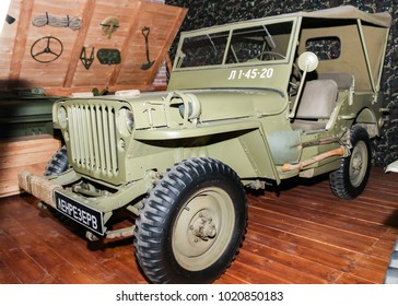 American army retro SUV. St. Petersburg, Russia - 7 May, 2017. Automobiles and vehicles of the war years presented at the Lenrezerv exhibition.