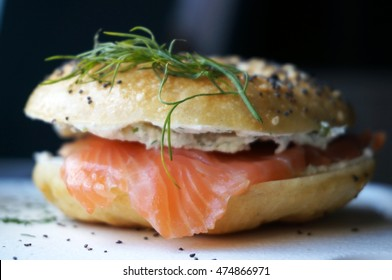 American bagels with smoked salmon, cream cheese and dill.