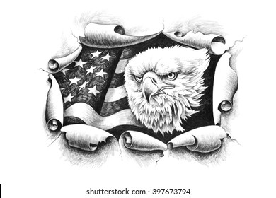American Bald Eagle, breaking through a paper wall  on a background of the United States of America flag.