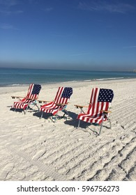 American Beach Towels On Chairs.