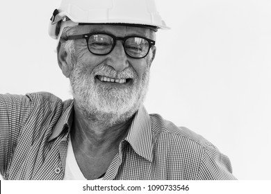 American beard senior engineer old man Smile happy retirement concept black and white with space for text.
