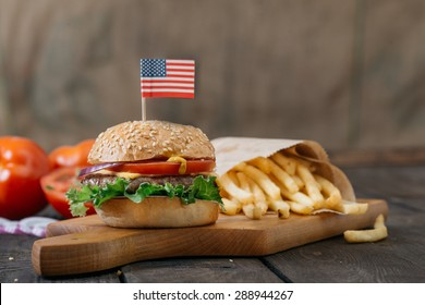 American beef burgers with cheese.Selective focus  and small depth of field. Close up shoot.