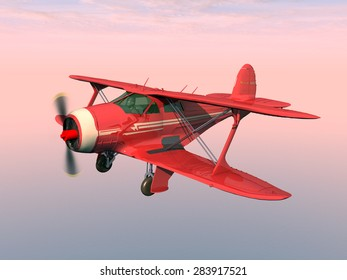 American biplane from the 1930s Computer generated 3D illustration