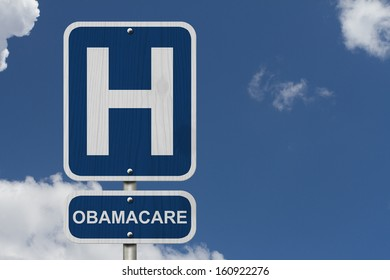 An American blue road sign with a sky background with a capital H and word Obamacare, Hospital and Obamacare