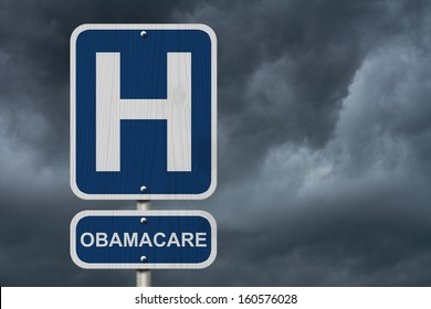 An American blue road sign with a stormy sky background with a capital H and word Obamacare, Hospital and Obamacare