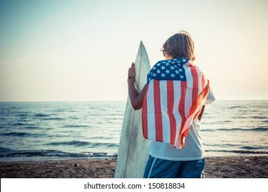 American Boy with Surf Board