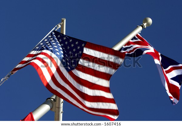American and British flags flying high