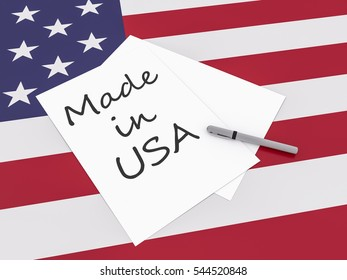 American Business Slogan: Note Made In USA With Pen On US Flag Stars And Stripes, 3d illustration