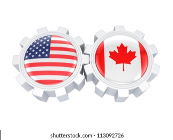 American and canadian flags on a gears.Isolated on white background.