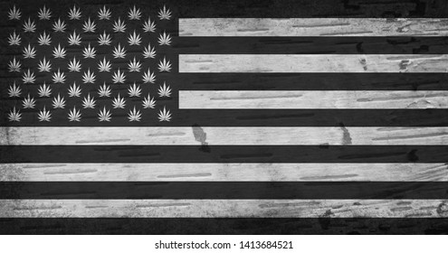 American cannabis stars and strips flag with a textured grunge effect