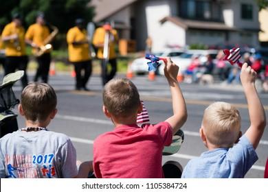 American Canyon, CA/USA, July 4 2017 Kids watching 4th of July parade
