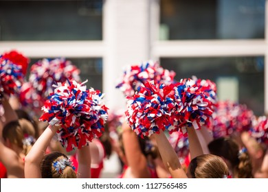 American Cheerleader, Red White and Blue Pom Poms Fourth of July